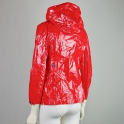 Veste Moncler en toile vernie rouge de dos